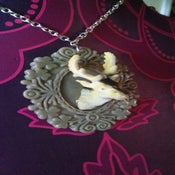 Image of Fake Taxidermy Deer Stag Head Animal Quirky Grey Cameo Necklace