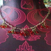 Image of Vintage Style Cherry Fruit Leaf Rockabilly 1950s Necklace