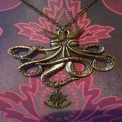 Image of Large Bronze Octopus Kracken Clthu Anchor Swallow Bird Rockabilly Necklace