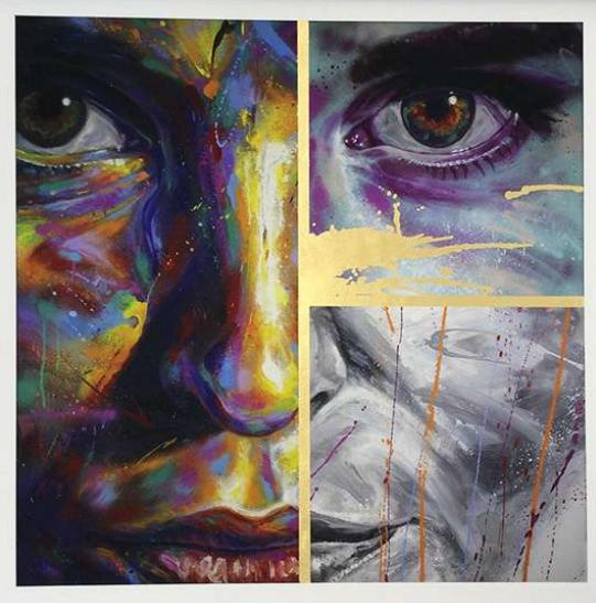 "Image of DAVID WALKER ""ALANA"" ARRANGEMENT 1 - 65CM X 67CM - GOLD LEAF EDITION OF 15"