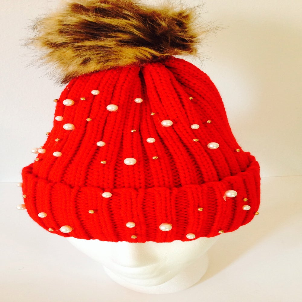 Image of Studded fur ball hat True red