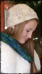 "Image of ""Cream Beanie and sea scape scarf"""