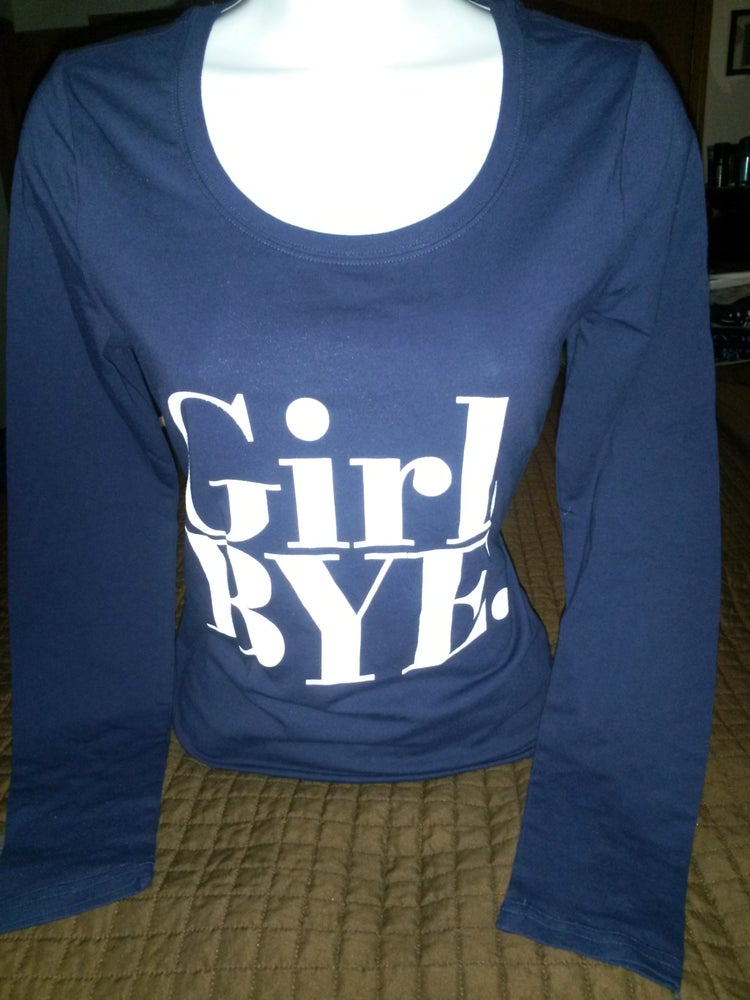 Image of Girl Bye Longsleeve tee  Navy Blue