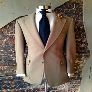 Image of Top Stitched Olive Suit