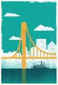 Image of City of Bridges Silkscreen Pittsburgh Art Print 1