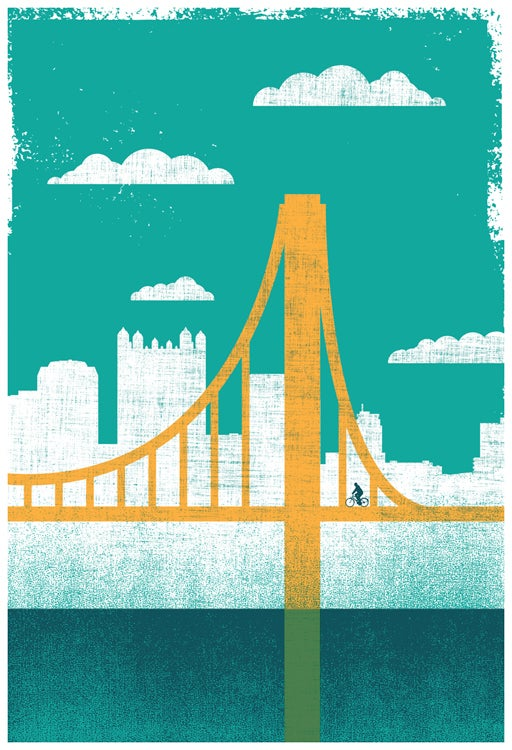Image of Pittsburgh City of Bridges Silkscreen Art Print 2