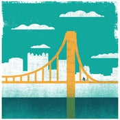 Image of Pittsburgh City of Bridges Silkscreen Art Print 2 - NEW!