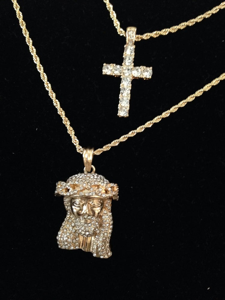 My Billionaire Lifestyle — Gold Bling Jesus piece and cross on ...