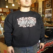 Image of love cycles sweatshirt black with lightning bolts