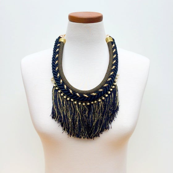 Image of Long Fringe Gold and Black Necklace