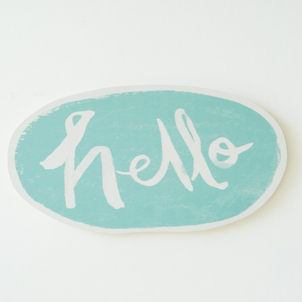 Image of HELLO PLY WALL HANGING (AQUA)