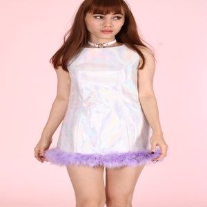 Image of Made To Order -  Michelle Silver Holographic Dress with Purple Faux Fur