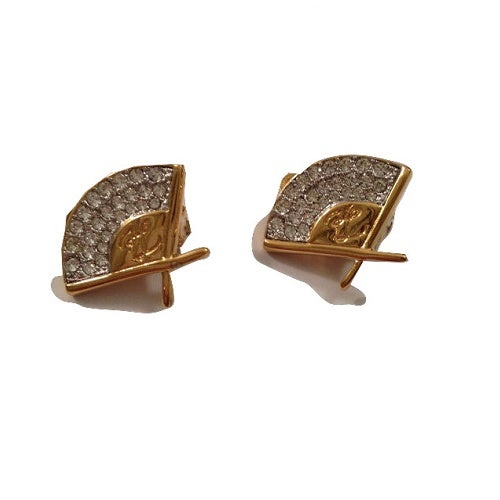 Image of SOLD OUT Karl Kagerfeld Earrings - Vintage Authentic signed Crystal and Goldtone Fan Earrings