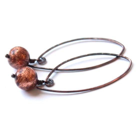 Image of Dandelion copper drop earrings