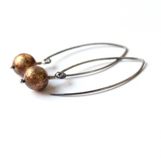 Image of Dandelion silver drop earrings