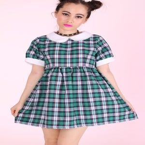 Image of Made To Order - Annabelle Dolly Dress in Green Tartan