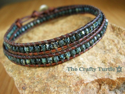 Image of Double Leather Wrap Bracelet