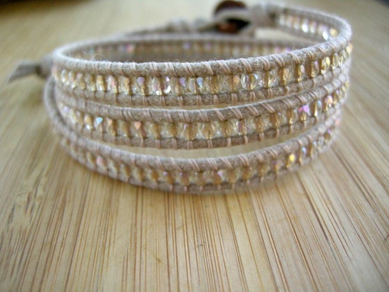 Image of Waxed Cotton Triple Wrap Bracelet