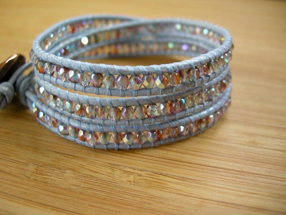 Image of Light Blue Triple Leather Wrap Bracelet