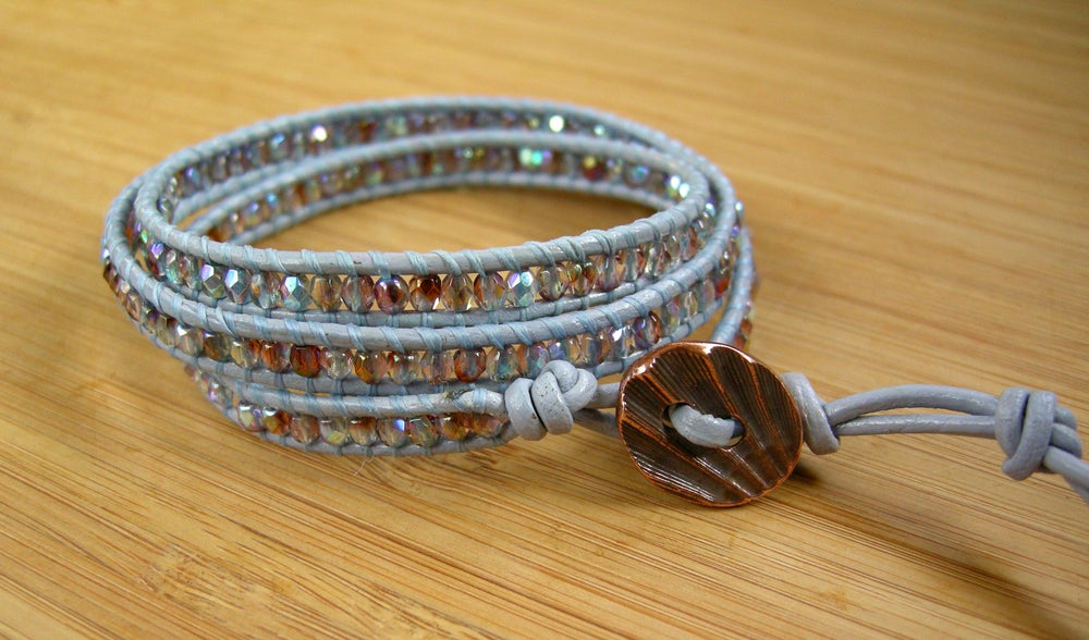 Image of Light Blue Triple Leather Wrap Bracelet