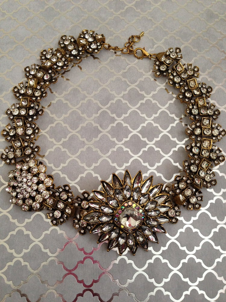 Image of Large Flower Silver Rhinestone Statement Necklace
