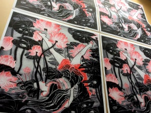 Image of Letter Y Silk Scarf and Signed Print by Yuko Shimizu