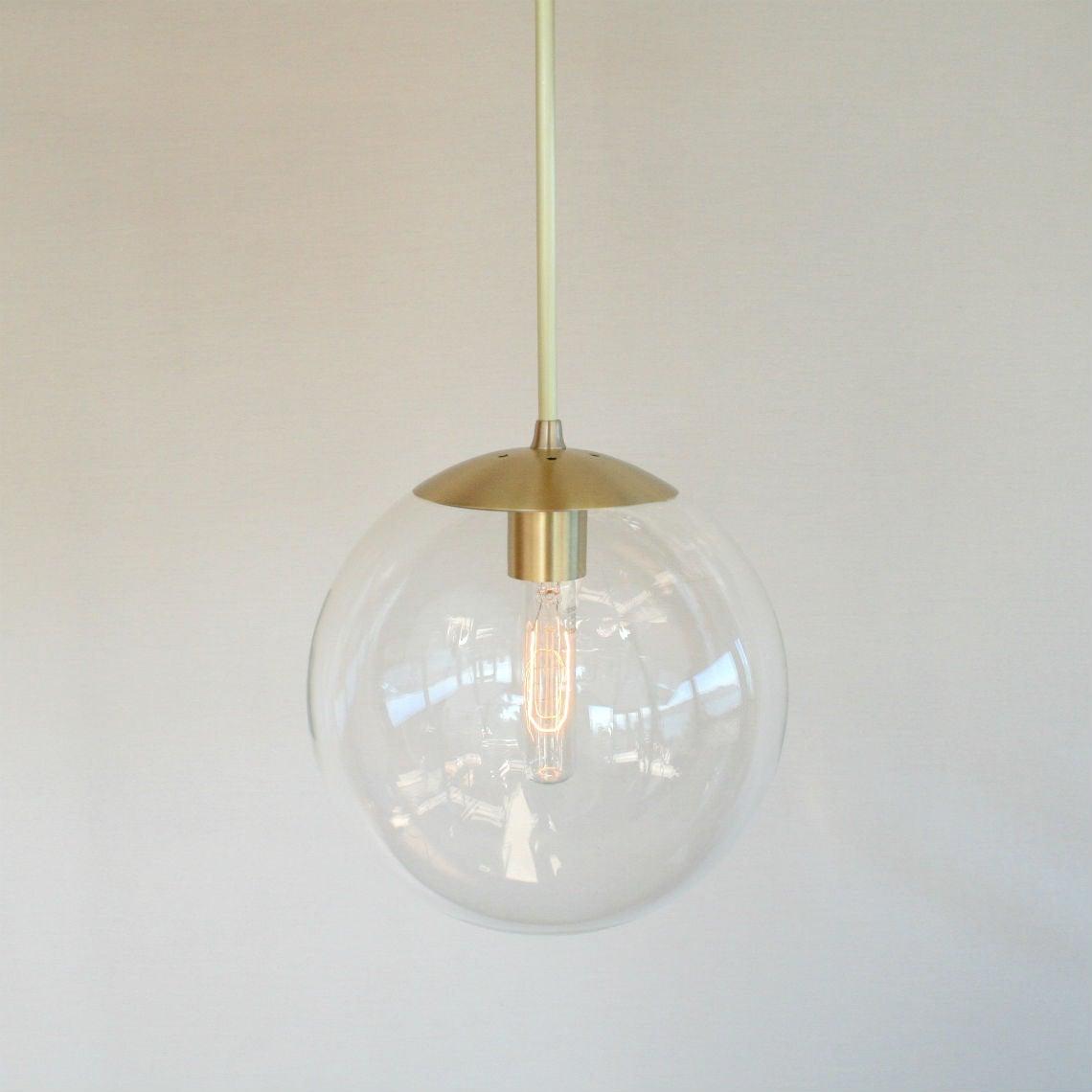 Orbiter 10 Pendant Light With Brass Stem Mid Century
