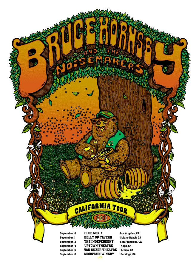 Image of BRUCE HORNSBY TOUR PRINTS (CA, NJ, MA) - 2011