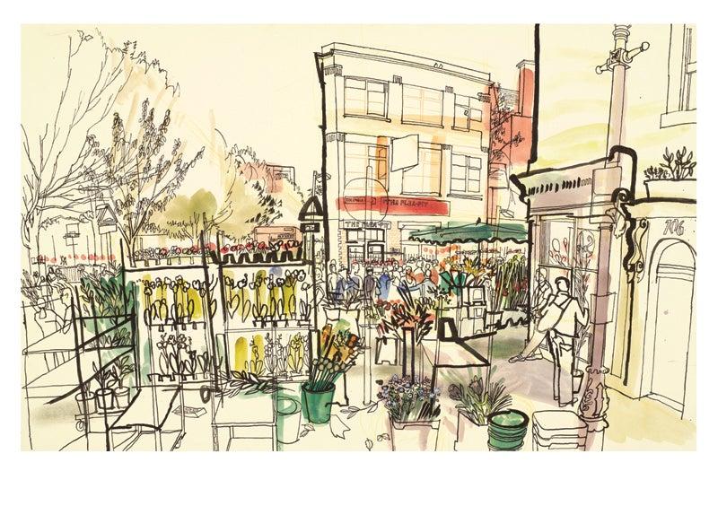 Image of Columbia Road Flower Market - greetings card