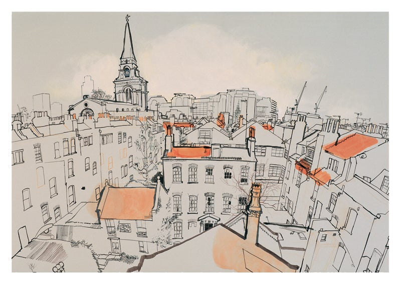 Image of View over Spitalfields looking west - greetings card