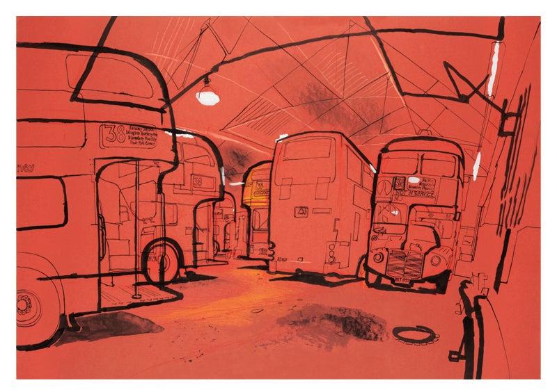 Image of Hackney bus garage - greetings card