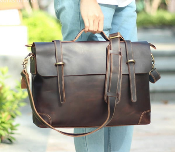 Image of Handmade Leather Briefcase Messenger Laptop Bag for Gentlemen - TREASURE (n365)