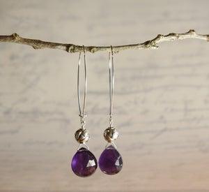 Image of Amethyst Heart Earrings