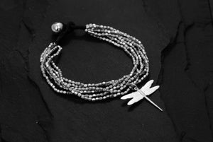 Image of Hammered bracelet 6 rows with dragonfly silver plated brass