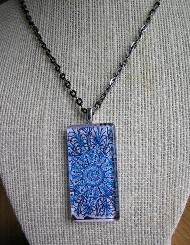 Image of Blue Pattern Glass Pendant
