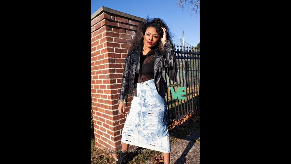 Image of Highwaisted Marble Denim Skirt