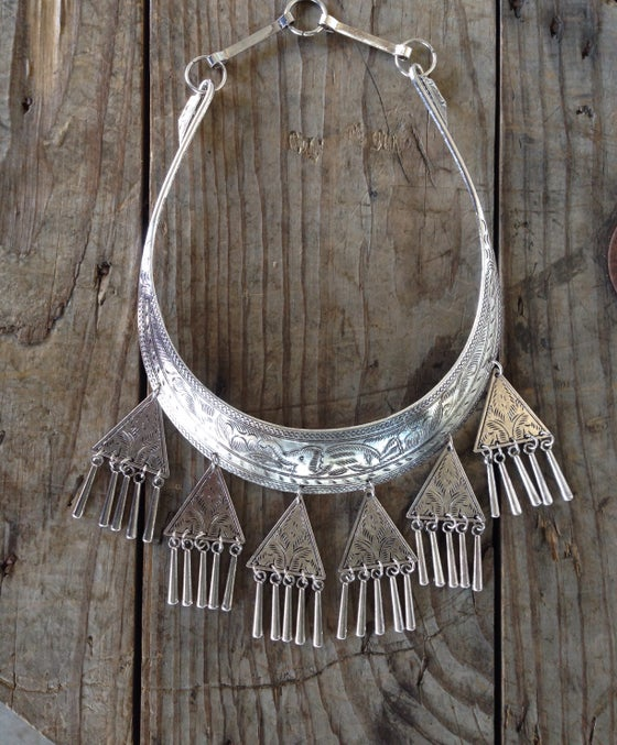 Image of The Silver Triangle Collar Bib Necklace