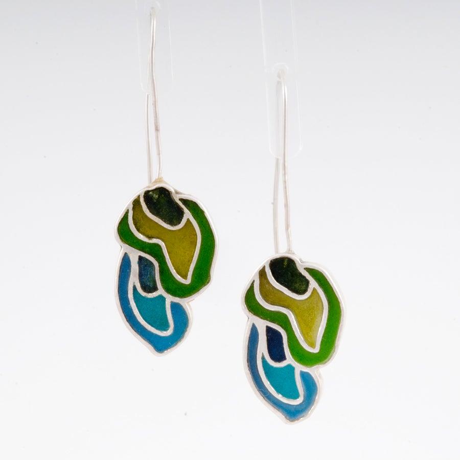 Image of Resinate Flow Earrings Blues