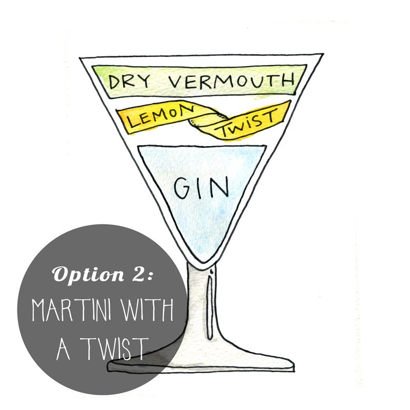 Image of Martini Cocktail Diagram Print