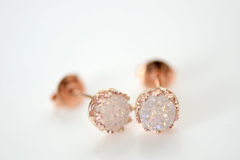 Image of Iridescent White Druzy Studs in Rose Gold Bezel , 6mm Druzy Crown Bezel Studs