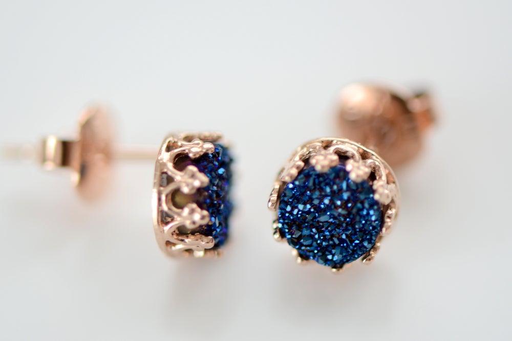 Image of Royal Blue Druzy Studs in Rose Gold , 6mm Druzy Crown Bezel Studs