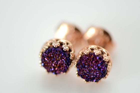 Image of Purple Druzy Studs in Rose Gold , 6mm Druzy Crown Bezel Studs