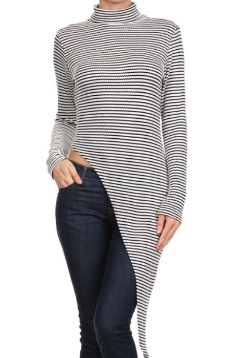 Image of Black and white striped asymmetrical hem top
