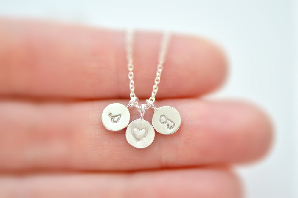 Image of Dainty Tiny Sterling Silver Initial Necklace, Personalize Initial Necklace