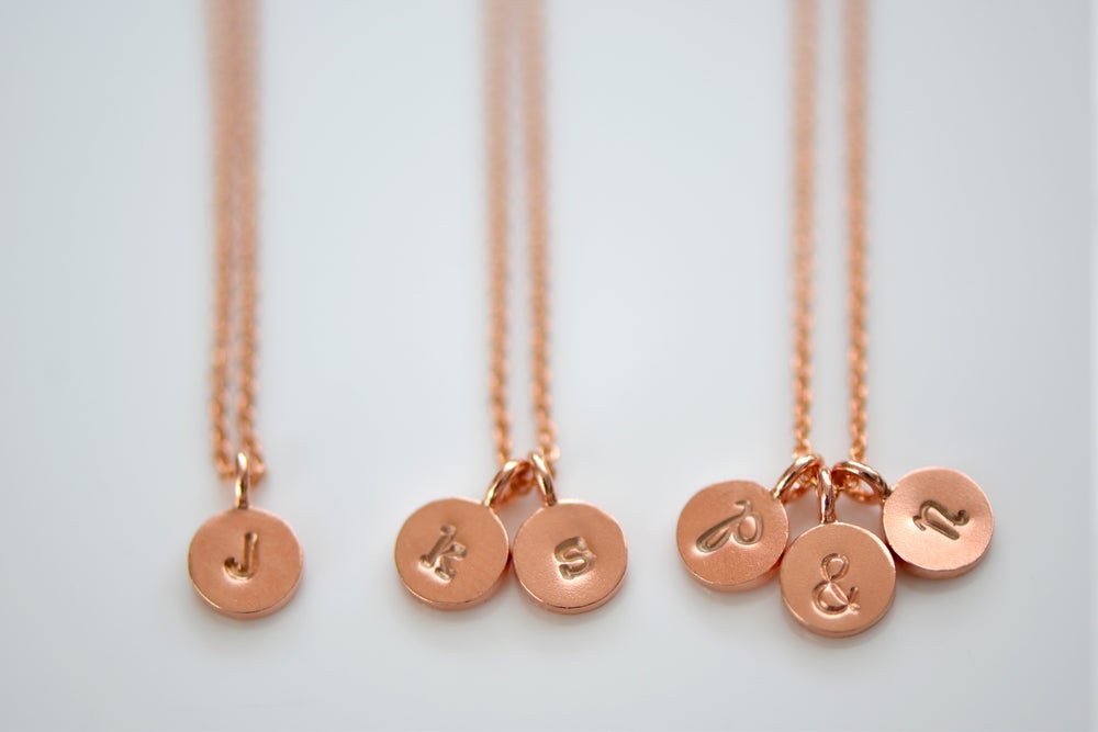 Image of Dainty Tiny Rose Gold Vermeil Initial Necklace, Personalize Initial Necklace