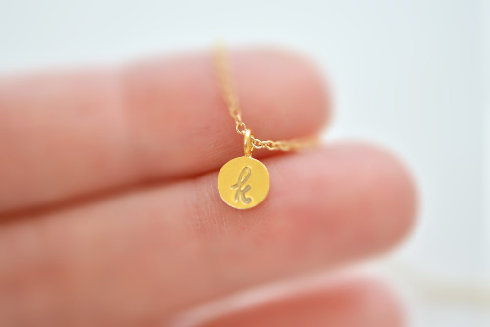 Image of Dainty Tiny Gold Vermeil Initial Necklace, Personalize Initial Necklace