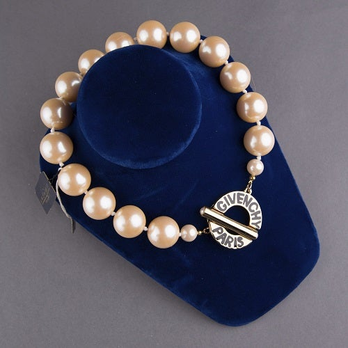 Image of SOLD OUT Givenchy Paris Authentic Signed Vintage Logo Pearl Necklace
