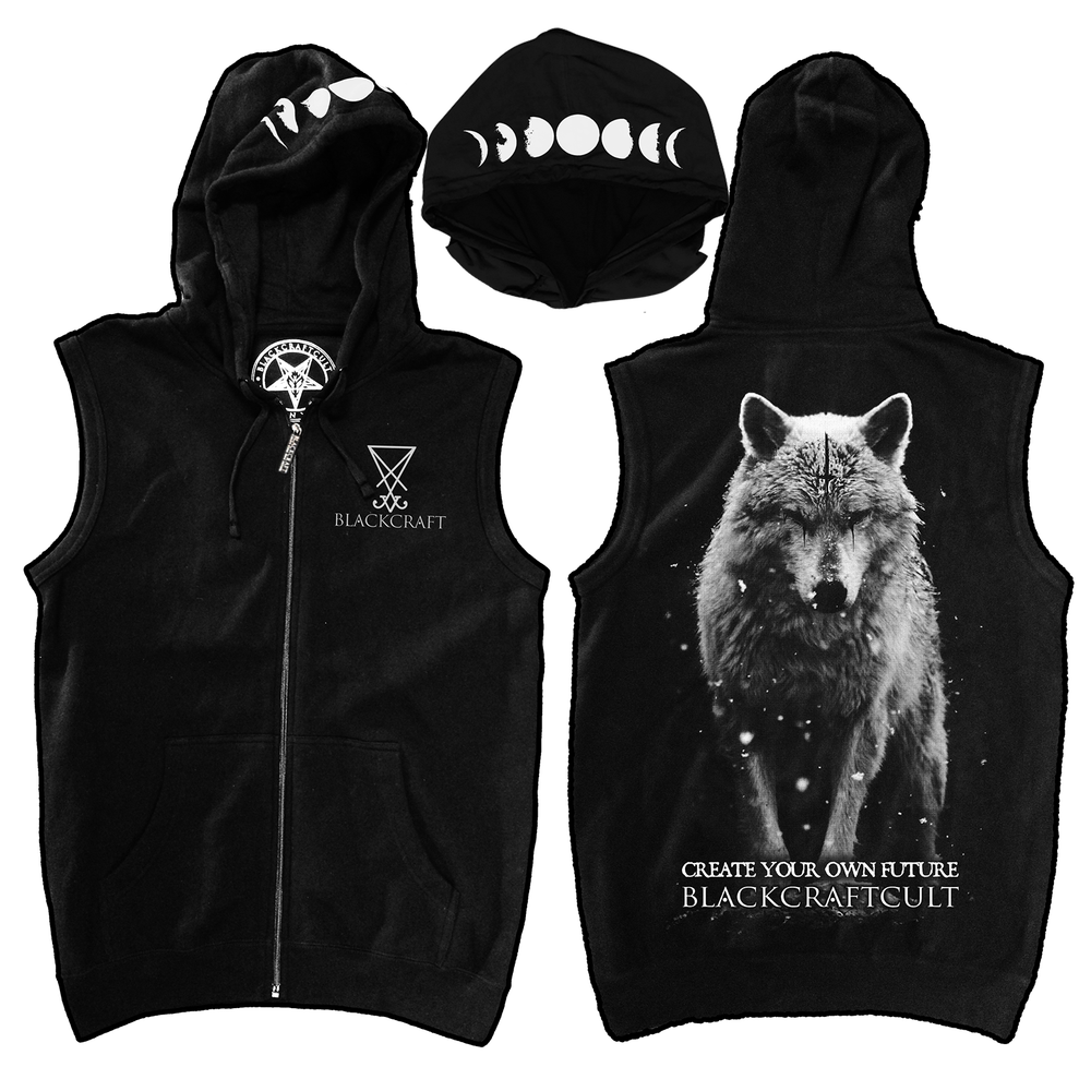 Image of Lone Wolf - Sleeveless Zip Up Hoodie