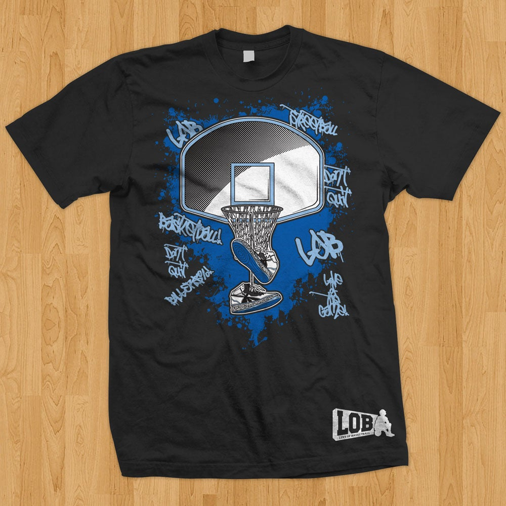 "LOB - Love Of Basketball — ""Graffiti"" Tee (Blue on Black)"