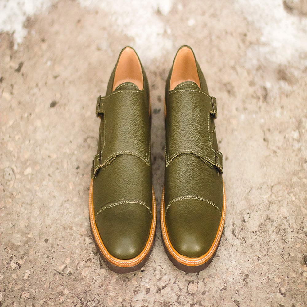 Image of Handmade Shoes | 401 Monk Double Strap Green Edition